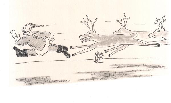 reindeer chasing santa